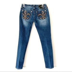 Miss Me Fleur De Lis Rhinestone Skinny Jeans 27